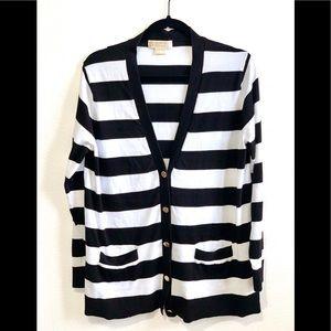 Michael Kors Striped Cardigan With Pockets XL